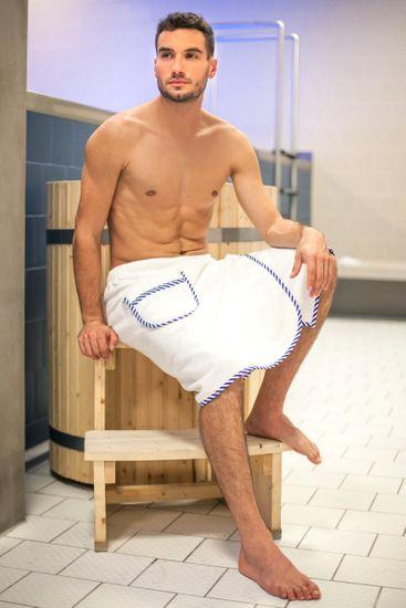 MaryBerry Pánský bílý kilt do sauny Mr. Captain , S-M