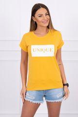 """Kesi Tričko s nápisem """"UNIQUE"""", hořčicová"""