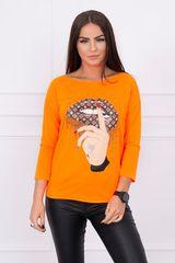 Kesi Tričko s barevným potiskem, neonově oranžová
