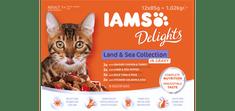 IAMS Delights Kopno & Morje hrana za odrasle mačke, v omaki, 12 x 85 g