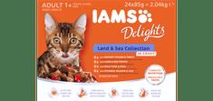 IAMS Delights Kopno & Morje hrana za odrasle mačke, v omaki, 24 x 85 g