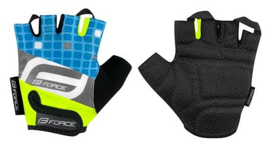 Force Dětské cyklistické rukavice SQUARE - fluo/modré - L