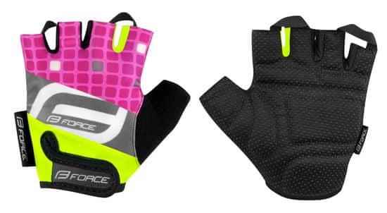 Force Dětské cyklistické rukavice SQUARE - fluo/růžové - M
