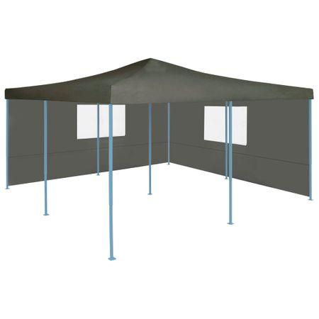 shumee antracitszürke összecsukható pavilon 2 oldalfallal 5 x 5 m
