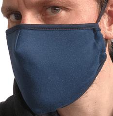 2x Rouška textilní, modrá ( NAVY ), 2 vrstvá, kapsička na filtr, velikost UNI