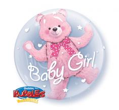 """Qualatex Fóliový balón BUBBLES 24"""" - Medveď v balóne Dievčatko 61cm"""