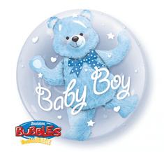 """Qualatex Fóliový balón BUBBLES 24"""" - Medvěd v balónu Chlapeček 61cm"""