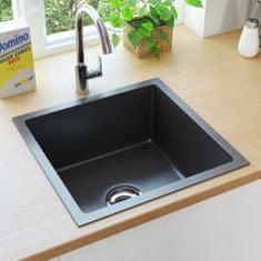 Ručne vyrobený kuchynský drez so sitkom čierny nehrdzavejúca oceľ