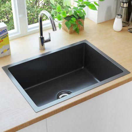 shumee fekete kézzel készült rozsdamentes acél mosogató szűrővel