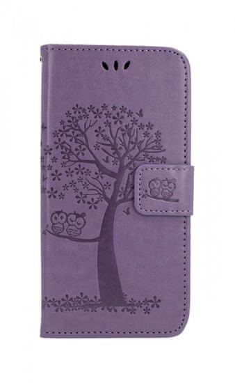 TopQ Kryt Huawei Y6 2019 knížkový světle fialový strom sovičky 40542