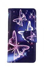 TopQ Pouzdro Xiaomi Redmi 8 knížkové Modré s motýlky 47240