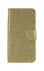 TopQ Pouzdro Honor 8X knížkové glitter zlaté 39204
