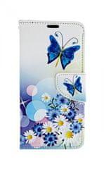 TopQ Pouzdro Huawei P30 Lite knížkové Bílé s motýlkem 41445