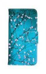 TopQ Pouzdro Samsung J6+ knížkové modré s květy 34632