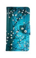 TopQ Pouzdro Samsung A10 knížkové Modré s květy 43346