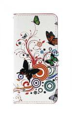 TopQ Pouzdro Honor 8X knížkové bílé s motýlky 37694