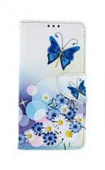TopQ Pouzdro Xiaomi Mi 9T knížkové Bílé s motýlkem 43453