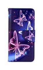TopQ Kryt Samsung A71 knížkový Modrý s motýlky 48050