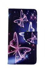 TopQ Pouzdro Xiaomi Mi A3 knížkové Modré s motýlky 43680