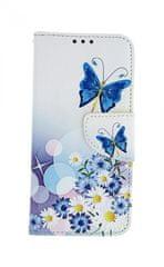 TopQ Pouzdro Samsung A40 knížkové Bílé s motýlkem 42345