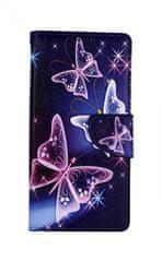 TopQ Pouzdro Xiaomi Redmi Note 8 Pro knížkové Modré s motýlky 46139