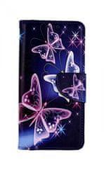 TopQ Pouzdro Samsung A10 knížkové Modré s motýlky 43344