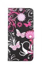 TopQ Pouzdro Xiaomi Mi A3 knížkové Černé s motýlky 45832