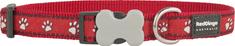 RED DINGO Nylonový obojok Red dingo s labkami červený
