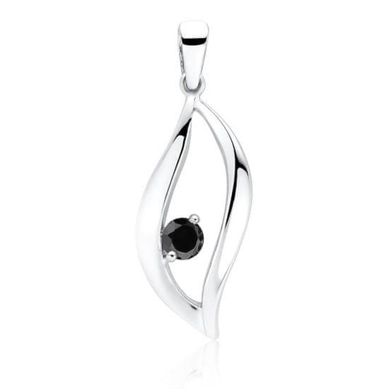 Klenoty Amber Stříbrný přívěsek s černým kamenem