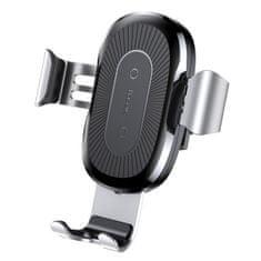 BASEUS Wireless Charger Gravity autós telefontartó, Qi vezeték nélküli töltő, ezüst