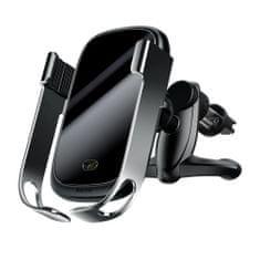 BASEUS Rock Smart držák na mobil do auta, Qi bezdrátová nabíječka, infra senzor, stříbrný