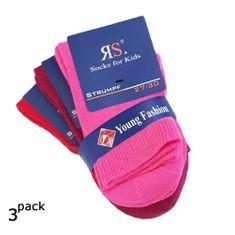 RS Dětské dívčí jednobarevné bavlněné ponožky růžové a červené 3Pack