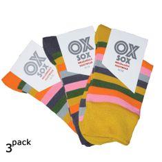 OXSOX Dámské barevné bavlněné pruhované ponožky bez gumiček 3pack