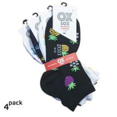 OXSOX Dámské barevné veselé kotníkové ponožky ananas a palmy 4Pack