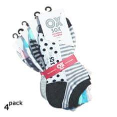 OXSOX Dámské bavlněné barevné letní crazy sneaker ponožky 4Pack