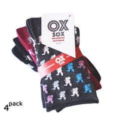 OXSOX Dámské barevné zdravotní ponožky bez gumiček zajíčci 4Pack