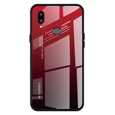 MG Gradient Glass plastika ovitek za Samsung Galaxy A20e, črna-rdeč