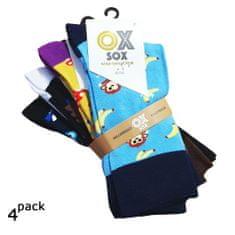 OXSOX Pánské barevné veselé designové CRAZY SOCKS ponožky 4Pack