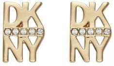 DKNY Pozlátené náušnice v tvare loga New York 5520004
