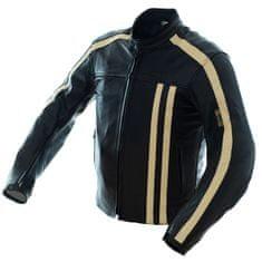 Cappa Racing Bunda moto pánska STRIPES kožená čierna / béžová