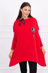 Kesi Asymetrická tunika, oversized, červená
