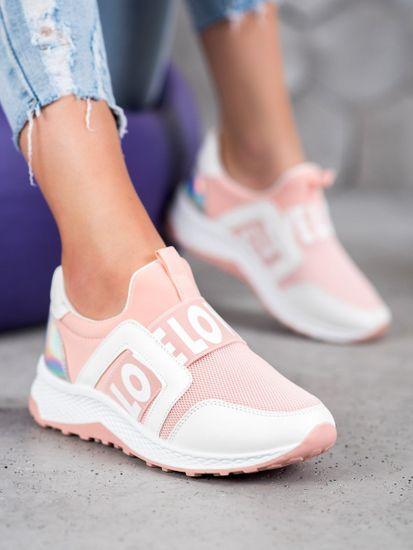 Módní tenisky růžové dámské bez podpatku + Rouška bílá, odstíny růžové, 37