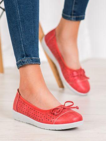 Női balerina cipő 64226 + Nőin zokni Gatta Calzino Strech, piros árnyalat, 37