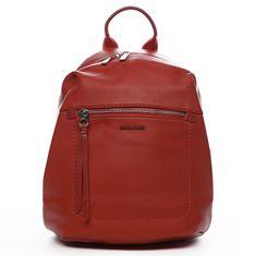 David Jones Moderní dámský koženkový batoh Samra, červený
