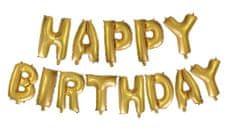 Fóliový nápis balóniky HAPPY BIRTHDAY - zlatý