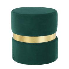 TEMPO KONDELA Taburet, smaragdová Velvet látka/zlatý náter, VIZEL