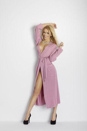 DKaren Nöi fürdőköpeny Viki light violet + Nőin zokni Sophia 2pack visone, vén rózsaszín, L