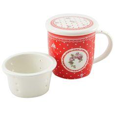 Home Elements porcelánový hrnček Elegant red so sitkem a vekem 390 ml - biele bodky