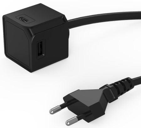 Allocacoc polnilnik USBcube Extended USB A+C Black