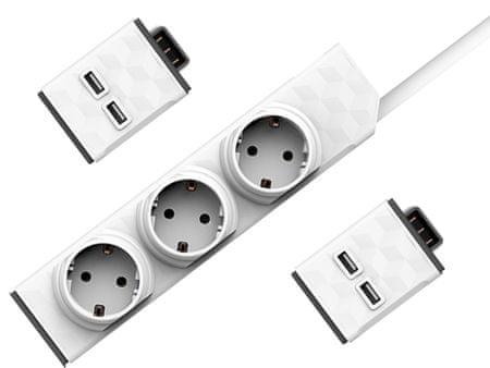 Allocacoc električni razdelilec PowerStrip Modular Switch, 1,5m + 2× USB modul